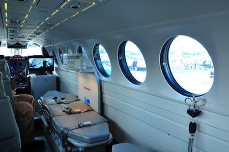 inside beechcraft ambulance plane