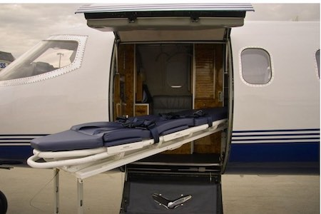 Learjet A55 medevac flight